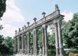 <strong>Neo-Classical Colonnade and Statues in Potsdam Park.</strong> copyright &copy; Glenn Loney/The Everett Collection