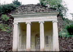 Greek Temple Folly in Fake Ruined Masonry Wall in Würlitzer Park. copyright © Glenn Loney/The Everett Collection